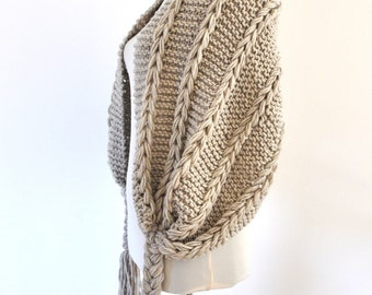Womens Scarf Shawl Cowl Scarf Chunky Knit Accessories Beige Sand Neutral Earth Tones