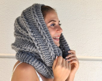 Chunky Infinity Scarf Cowl Neckwarmer Loop Scarf Circle Scarf Knit Fashion Accessories Grey