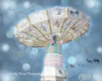 Carnival Ferris Wheel Photos, Dreamy Baby Blue Boy Nursery Art, Baby Boy Child Wall Art Photo, Nursery Baby Boy, Blue Ferris Wheel Boy Decor