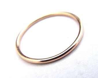 1.2mm Solid 14k Rose Gold Skinny Stacking Ring - Single Skinny 14kt Gold Stacking Ring in Pink Gold with Shiny, Matte, or Hammered Finish