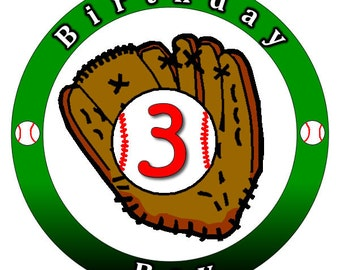 Baseball Themed Stickers. Custom Baseball Birthday Party Baseball Stickers. Ball and Glove Baseball Stickers.  Choose your Size