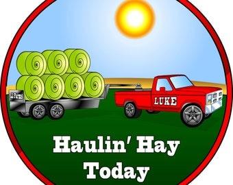 Custom Farm Pickup Truck Stickers. Barn Yard Birthday Party Stickers.  Kids Hay Truck Farm Birthday Stickers.  Choose Size