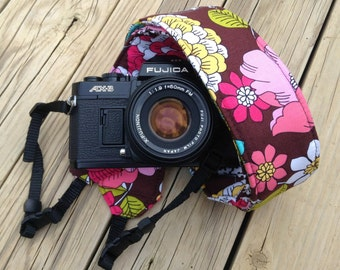Ready to ship Monograming not available Camera Strap for DSL Camera Brown Floral Print