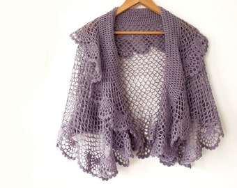 Crochet cape, Bridal cape, Crochet shawl,  Lace crochet stole, Crochet poncho, Ruffled shawl, Shawl with frill, Poncho shawl, Wool mohair