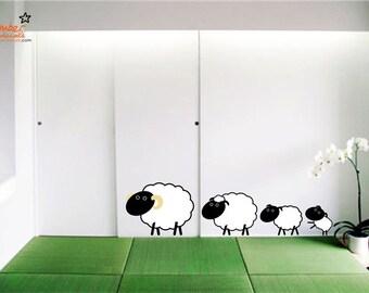 Cute Sheep Family Wall Decal