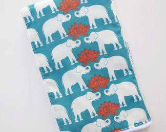 Burp Cloth  for Baby - Elephants on Emerald  - Single Burp Cloth  - Boutique  Baby Gift / Layette Set