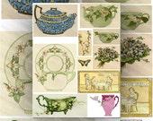 Digital Collage Sheet Vintage Tea Collection, Whimsical Color Illustrations Large Images Printable Download