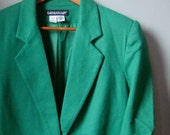 VIntage Kelly Green One Button Wool Blazer by Savannah, Size 8