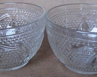 Vintage Glass Hobnail Teacups, Set of Two