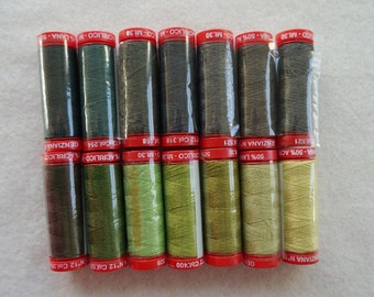 Genziana Wool Thread Green Sampler Pack for Wool Applique and Embroidery Number 5