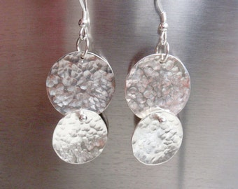 Hammered Disc Earrings Sterling Silver, Sparkle and Shine