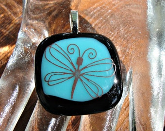 Dragonfly - Turquoise and Black Fused Glass Pendant