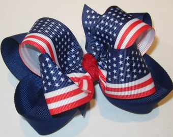 American Flag Patriotic Red White and Blue Double Layered Boutique Lush Hair Bow with Stars and Stripes and lot of Spikey Edges