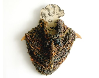 Earth Thones Scarf Chunky Knitted Cowl Triangular Brown Neckwarmer
