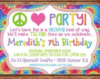 Peace Love Party Tie Dye Tiedye Birthday Invitation - DIGITAL FILE