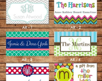 20 Rectangle Personalized All Occasion / Family / Mommy / Sibling / Adult Enclosure Cards or Gift Stickers - Choose ONE DESIGN