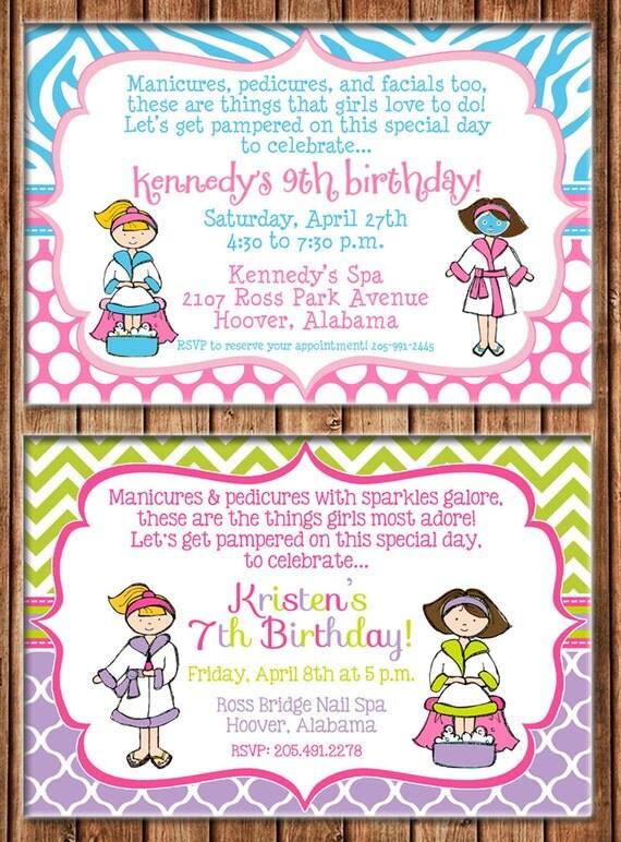 Girl Spa Party Manicure Pedicure Facial Make Up Salon Party Birthday Invitation - DIGITAL FILE