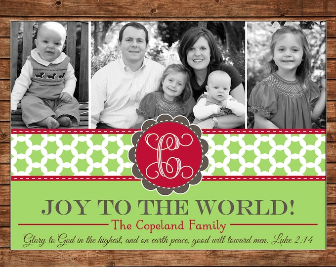 Christmas Holiday Photo Card Monogram Green Clover Print - Can Personalize - Printable File or Printed Cards