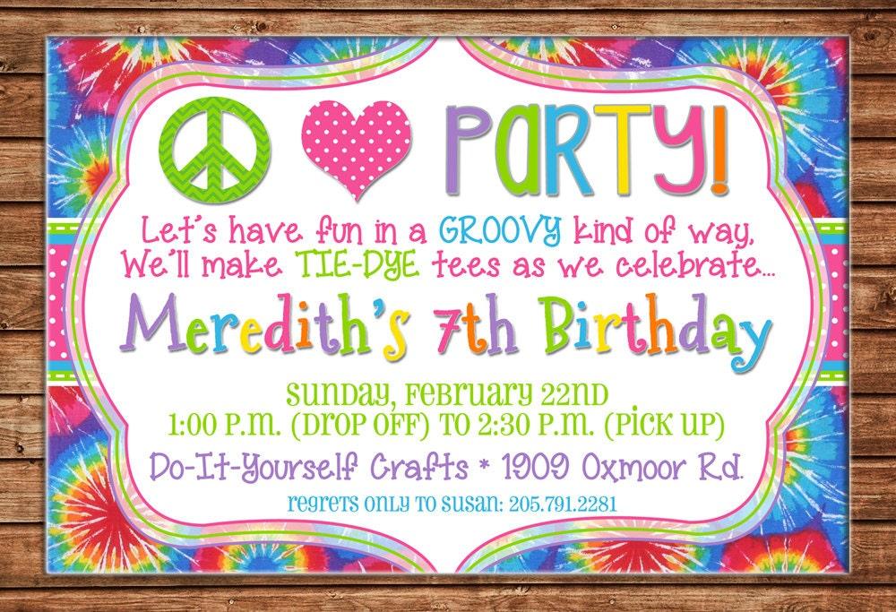 Peace Love Party Tie Dye Tiedye Birthday Invitation DIGITAL