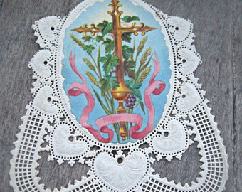 Victorian Christmas card/Holy card remnant, mixed media supply, altered art supply, religious card, holy card, ornate holy card
