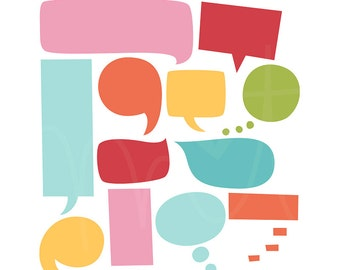 Speech Bubbles 2 Digital Clipart Clip Art Illustrations - instant download - limited commercial use ok
