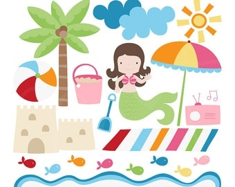 Summer Beach Digital Clipart Clip Art Illustrations - instant download - limited commercial use ok
