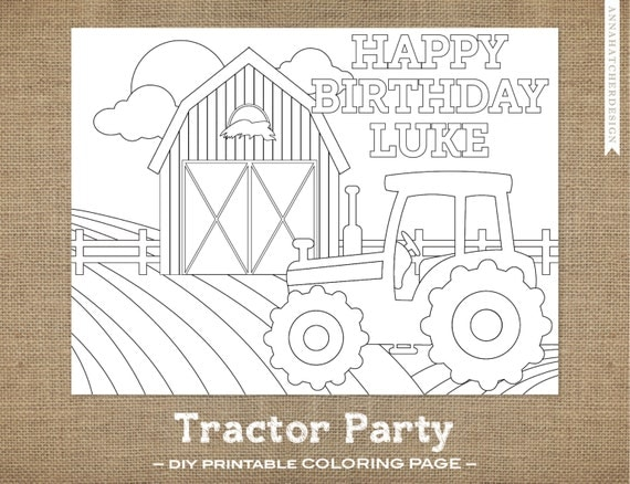 Tractor Party DIY Printable Coloring Page by AnnaHatcherDesign