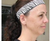 Runner's Headband, Zebra Print Jacquard Head band, No-Slip Headband, Adult Headband, Runner's Headband, Velvet Lined Headband