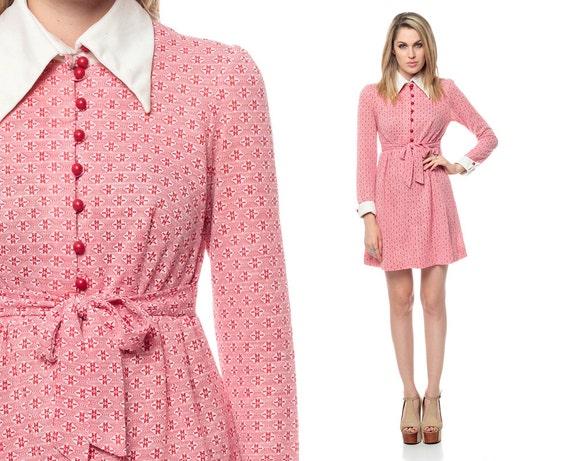 60s Mini Dress Mod Dolly Pink Babydoll Button Up 1960s Vintage