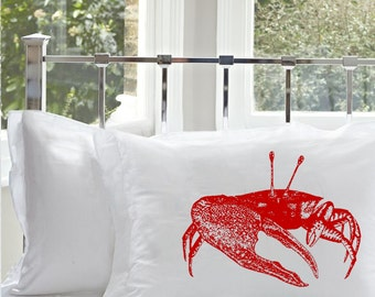 One (1) Red Fiddler Crab Pillowcase pillow case cover white standard nautical decor home furnishing bedroom cabin lake vintage retro rustic