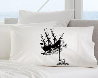 Black Nautical Tall Clipper Ship with Anchor pirates SAILBOAT PILLOWCASE sail Pillow case navy ocean sea decor kraken sailing sailor vintage