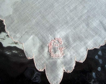 "Vintage  White Linen  Hanky /handkerchief Embroidered ""G""  Monogram  Bridal Pink"