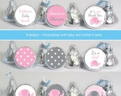baby shower favors stickers for mini candy (No.K40) elephant girl polka dots pink gray