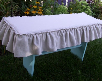 Linen Bench Slipcover Ruffled Skirt Washable Slipcover Cottage Style