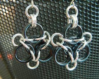 Aura Earrings in Black and Silver