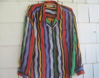 Vintage Blouse Shirt La Chine Galinda Wang Bright Color Stripes