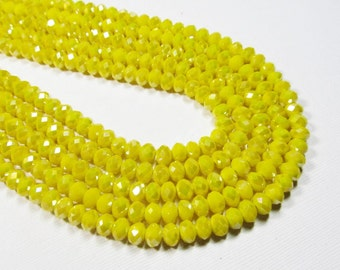 "6.5"" Glass STRAND - Glass Crystal Beads - 4x6mm Faceted Rondelles - Pearlized Opaque Yellow (6.5"" strand - 38 beads) - str352"