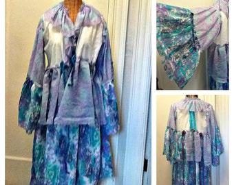 Boho Dream Coat Large, XL, Burning Man Festival Bohemian Cotton Gypsy Hippie Lavender Ruffled Art Wear Abstract Jacket Womens by Savoyfaire