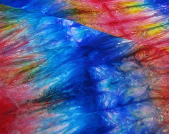 hand dyed silk scarf in a vivid rainbow of blue, golden yellow, and bright red  (#16) 14in x 72in