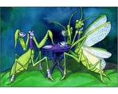 Tea for Two Limited Edition Fantasy Steampunk Preying Mantis Print - MATTED hunter