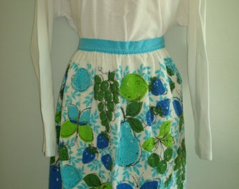 SALE*** Vintage 50's Tea Towel Half Apron Green Blue