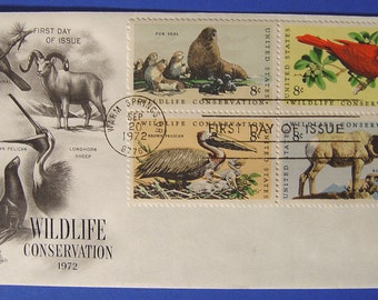 Wildlife Conservation First Day of Issue Cover Animal Stamp Envelop 1972