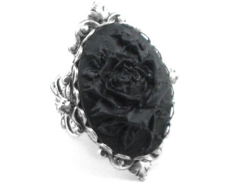 Gothic Ring - Mourning Ring - Adjustable Solid Black Rose Cameo Ring with Sterling Silver Plated Band - By Ghostlove