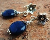 Lapis Lazuli Blue Gemstone Earrings, Thai Hill Tribe Artisan Floral Posts, Bali Sterling Silver, Post Earrings, Handcrafted