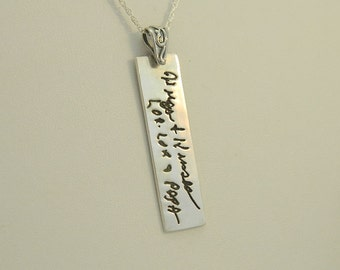 Handwriting Necklace Signature Pendant Rectangle Handwriting Jewelry in Sterling Silver