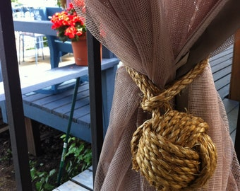 Beach Decor - 2 Rope Curtain Tie Backs - Manila Rope