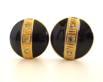 Vintage 80's Avon // Black Enamel Rhinestone Round Clip on Earrings