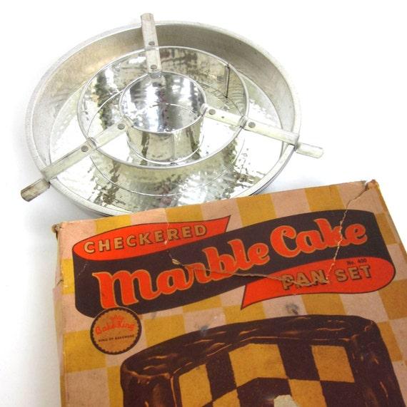 Bake King Aluminum Checkered Marble Cake Pan Set 50s Vintage
