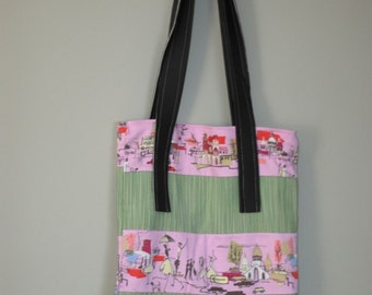 Essential Fabric Tote - Pink Scenic Fabric with Beige Stripes - Urban Boho Chic - Stylish Book Bag