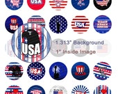USA 4th July Digital Collage Sheet - 1.313 Inch Circles for 1 Inch Buttons - Instant Download